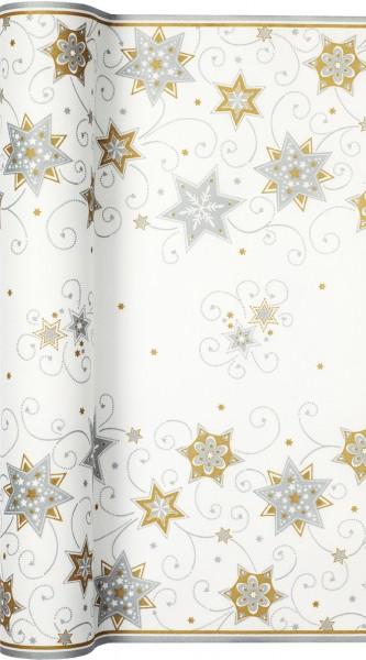 airlaid tischl ufer weihnachten 500x40cm stars and swirls silber gold tischl ufer tischb nder. Black Bedroom Furniture Sets. Home Design Ideas
