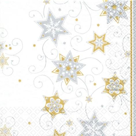 lunch weihnachtsservietten 33 x 33 cm stars and swirls silber gold servietten papierservietten