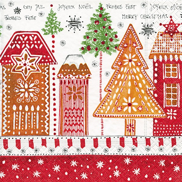 lunch weihnachtsservietten 33x33 cm design gingerbread road servietten papierservietten. Black Bedroom Furniture Sets. Home Design Ideas